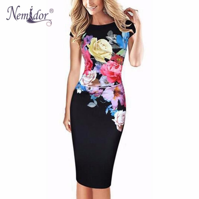 Nemidor Hot Sales font b Women b font Slim Patchwork Casual Midi Bodycon font b Dress