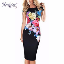 Nemidor Hot Sales Women Slim Patchwork Casual Midi Bodycon Dress Floral Print O-neck Work Ruffles Pencil Dress