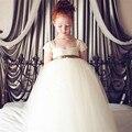 2017 verão nova chegada flor princesa menina vestido de renda arco vestidos de meninas de aniversário festa de casamento princess tutu elegante gdr183