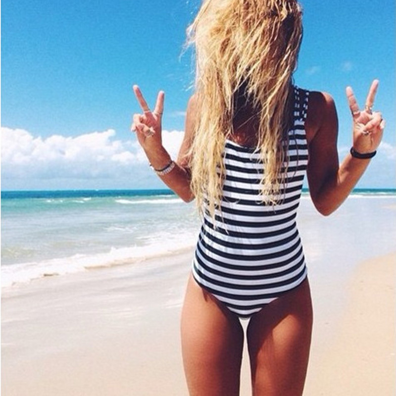 2017 Swimwear Women One Piece Swimsuit vintage White Black Navy Striped Padded Strap Monokini Sexy High Cut Backless Biquini page swimsuit sw0670 navy mult