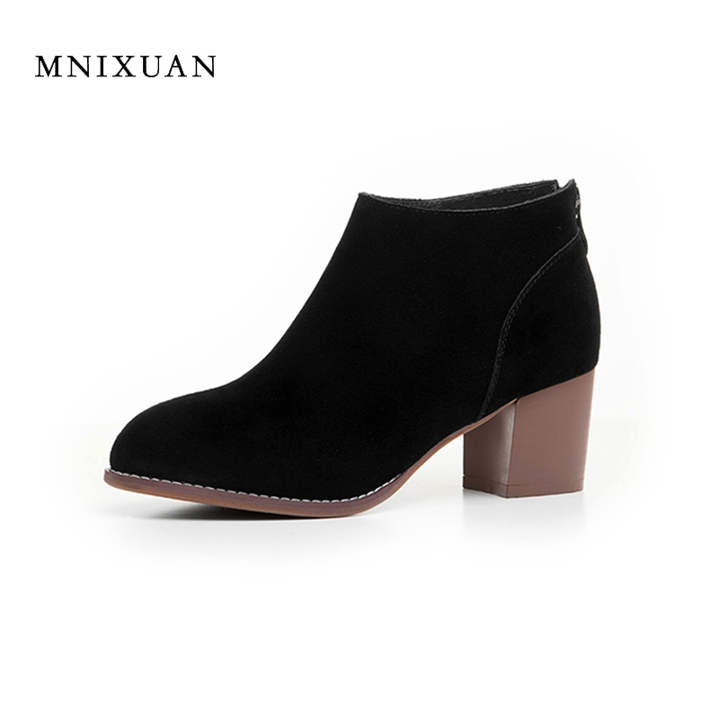 Solid elegant women shoes big size 41 42 43 genuine leather women boots round toe block high heels office ladies work short boot босоножки fenyaie 653 43 42 41
