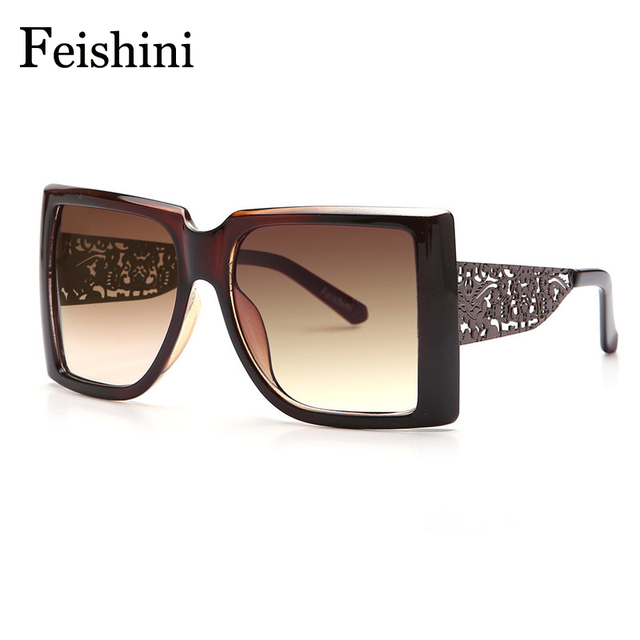 FEISHINI Wholesale Prices Metal Pattern Hollow Legs Latest Popular HD Square Superstar Sunglasses Oversized Women Vintage 2017