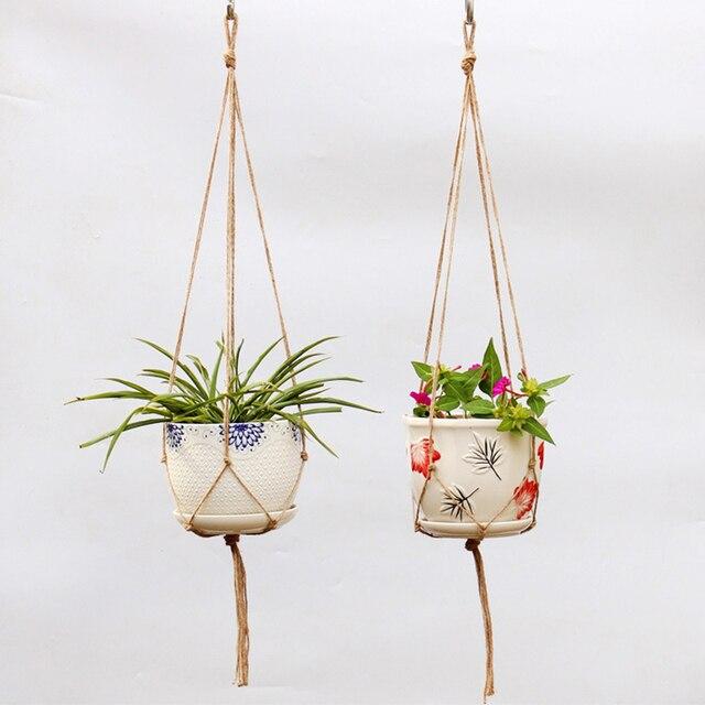 Pendurado Cesta De Corda Trançada DIY Cabide Pot Nova Corda de Cânhamo Artesanal de Horticultura Greening Vasos de Flores