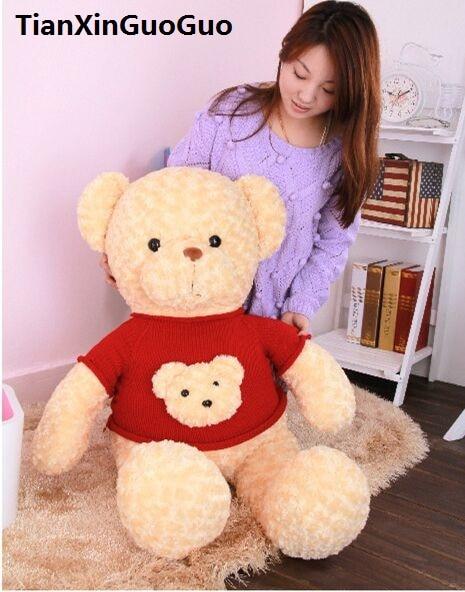 cartoon teddy bear plush toy large 80cm soft bear doll dressed bear head sweater , throw pillow birthday gift w0339 the lovely bow bear doll teddy bear hug bear plush toy doll birthday gift blue bear about 120cm