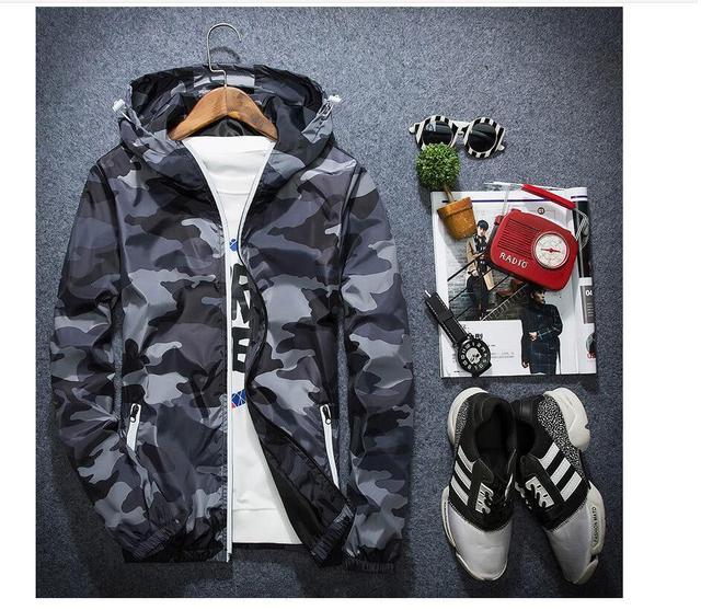Осень с капюшоном моды для мужчин камуфляж пальто и тонкие куртки британский дизайн