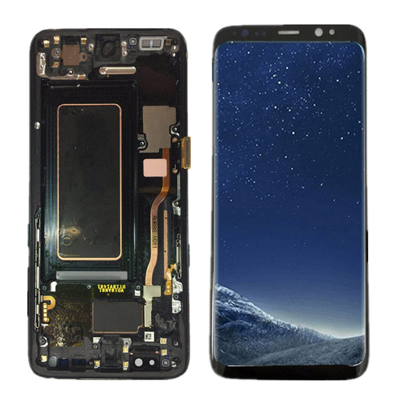 100% Super AMOLED LCD For Samsung Galaxy S8 G950F G950U G950 S8 Display Touch Screen Assembly+Frame 5.8 Replacement+Tools