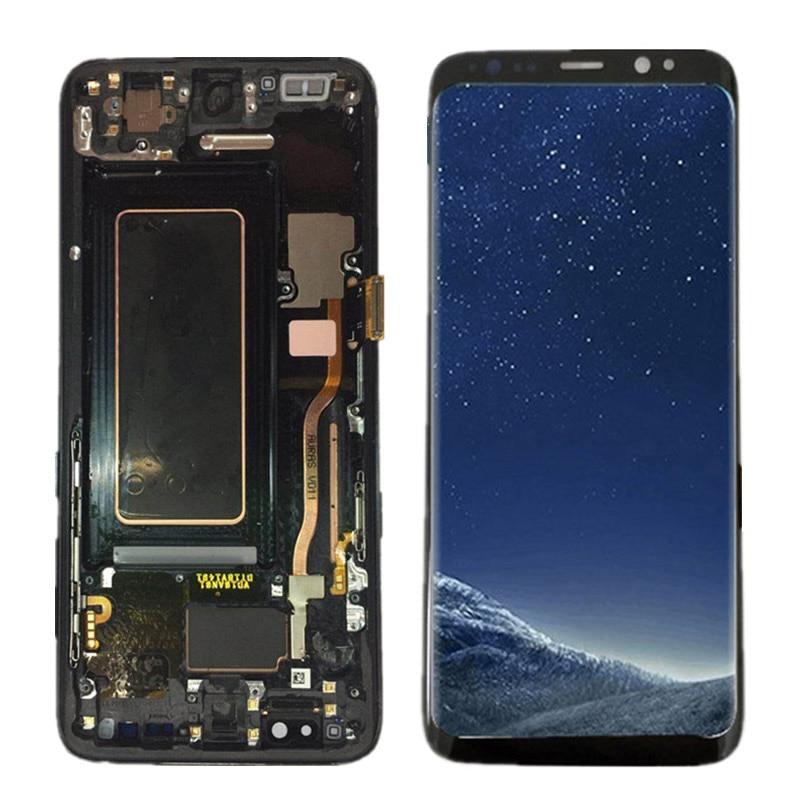 100% Super AMOLED LCD Pour Samsung Galaxy S8 G950F G950U G950 S8 Affichage Tactile Assemblée D'écran + Cadre 5.8 remplacement + Outils