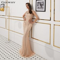 CEEWHY Длинные Шампанское Высокая шея арабское вечернее платье 2019 Кафтан Дубай Формальные Вечерние платья русалки платье Длинные платья выпу