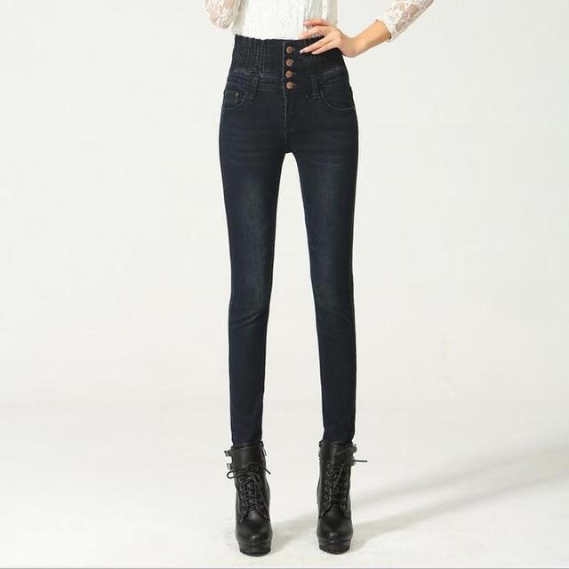 Botón Denim Jeans Para Mujer de Cintura Alta Elástica Flaco Lápiz Pantalones Largos Femeninas Jeans Feminina camisa de la Señora Pantalones de Grasa