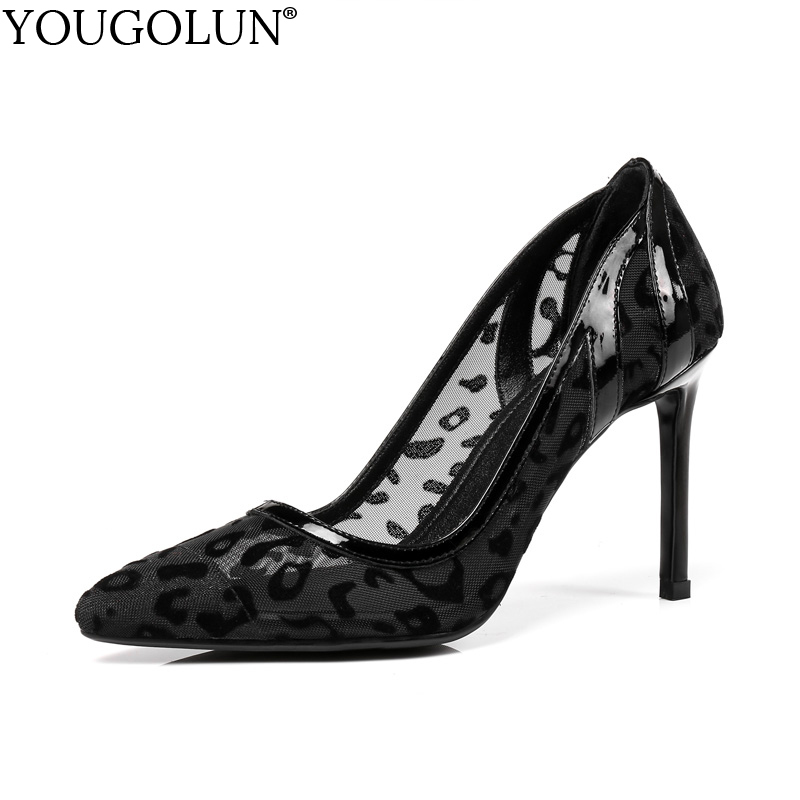 YOUGOLUN Women Lace Leopard High Heels 9 cm Sexy Genuine Leather Ladies Pumps Elegant Woman Black Pointed toe Party Shoes #A-129 new spring summer women pumps fashion pointed toe high heels shoes woman party wedding ladies shoes leopard pu leather