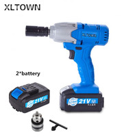XLTOWN 21v electric wrench with 2 battery rechargeable lithium battery electric wrench high quality impact wrench Power Tools