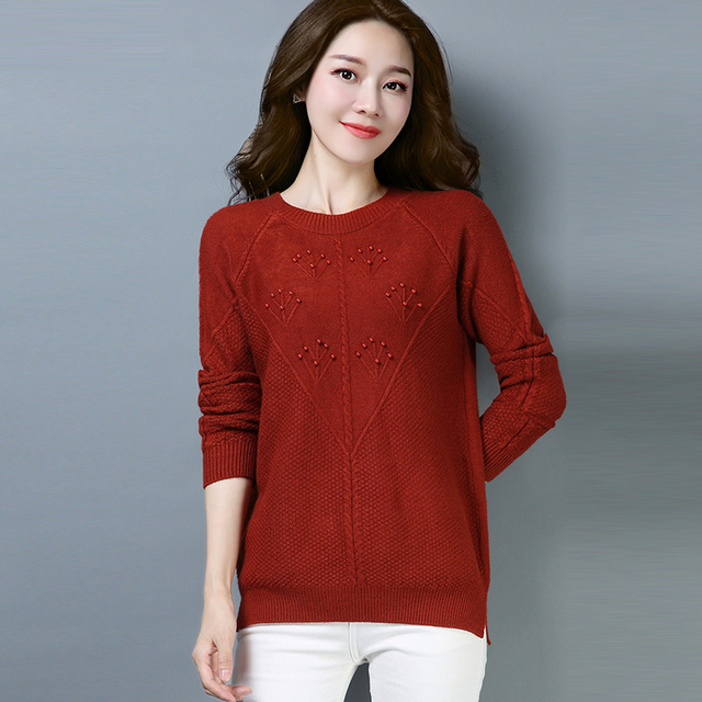 0957bf3efbad Winter Fall Casual Women Wine Red Balck Full Sleeve Embroidery Pearls Knitted  Sweater