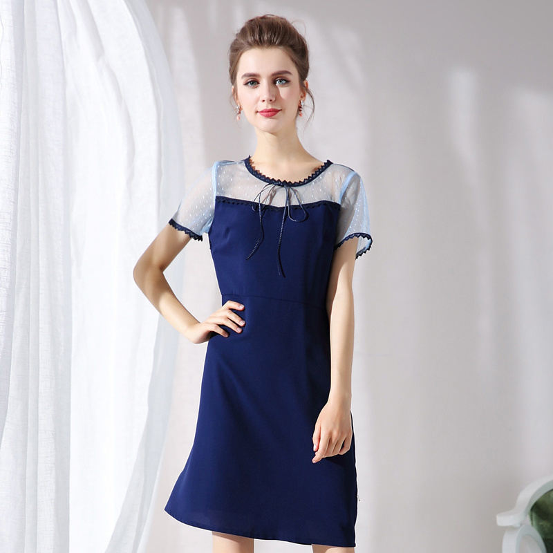 Pincé De Taille Mode Élégant 2018 Bureau xxxxxl Dames D'été Maille Robe Casual Robes Plus Tunique Patchwork L Bleu Nouveau La SqUzVpGLM
