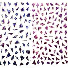 1 Hoja Simple Geo Shell Patrón De Papel 3D Brillante Del Arte Del Clavo Pegatinas De Papel Holográfico Nail Art Stickers Decals 4 Colores