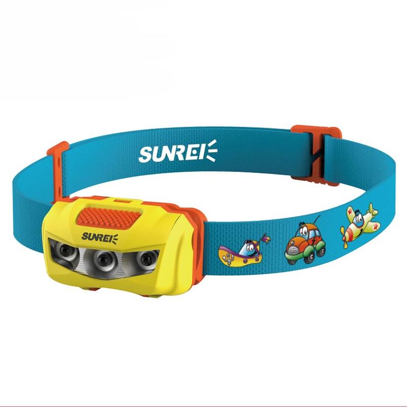 SUNREE BEBE Children Headlamp Strong Light LED Waterproof Sensor Headlights Children/Kids IPX6 Head Light Lamp For School