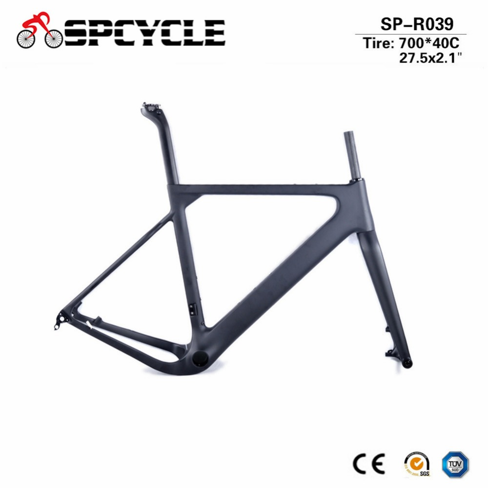 Spcycle 2018 nouveau cadre de gravier de carbone Aero T1000 carbone Cyclocross frein à disque route ou vtt cadre de vélo QR ou à travers l'essieu disponible