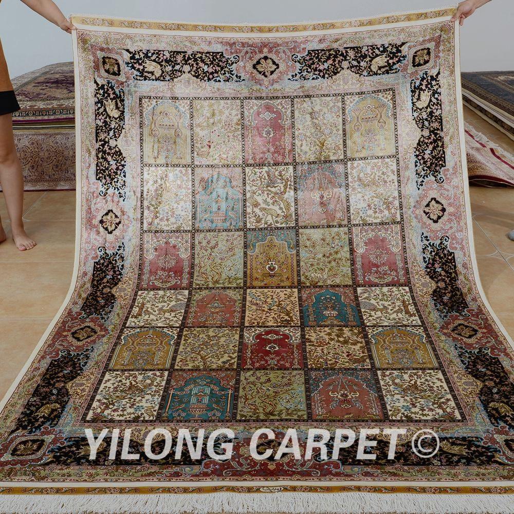 Yilong 5.5'x8 'Fars dörd mövsümü xalça düzbucaqlı Türk əl - Ev tekstil - Fotoqrafiya 1