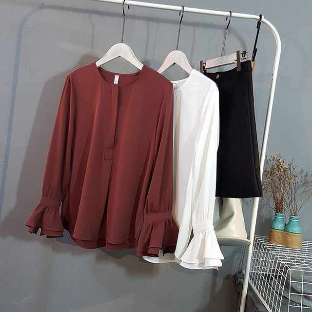 Women Chiffon Shirts Bow Neck Flare Sleeve White Red Blouse Blusas Femininas Casual Women Shirts Women Ladies Office Blouses