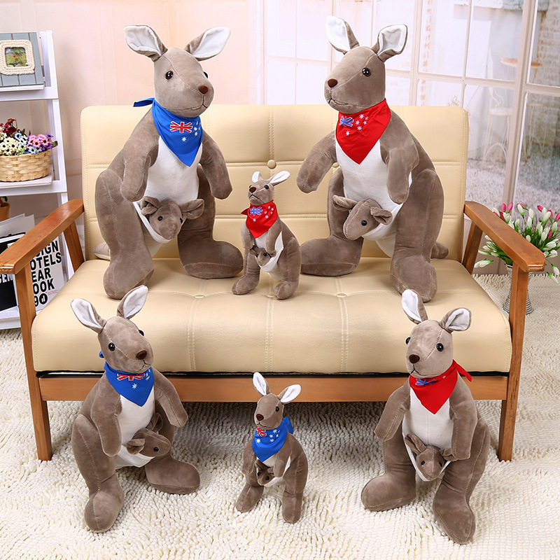 Cute Lovely Soft Australia Kangaroo Mother Plush  Doll Baby Toys  Birthday Gift For Kids Children 13.8in