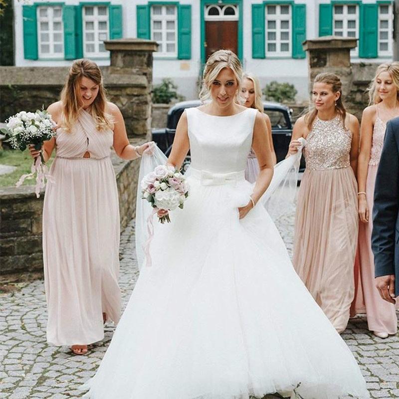 Wedding Dress 2019 Cheap Satin Elegant Tulle Skirt A Line Floor Length Backless Bridal Gown Dresses Plus Size Wedding Dresses