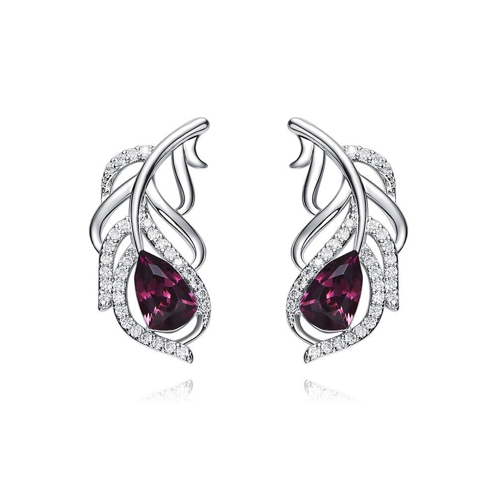 Heezen élégant en forme de plume boucles d'oreilles en cristal boucles d'oreilles mode bijoux autrichien strass violet boucles d'oreilles pour les femmes nouveau