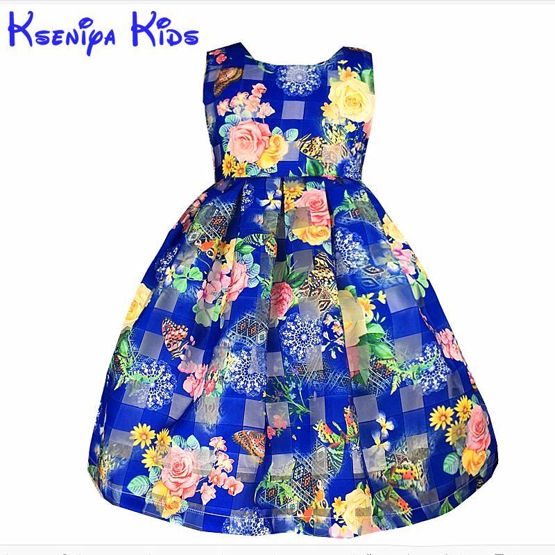 827d351ae Kseniya niños envío de la nueva muchacha ocasional flores alta calidad sin  mangas princesa chica vestido azul ropa 2-10y