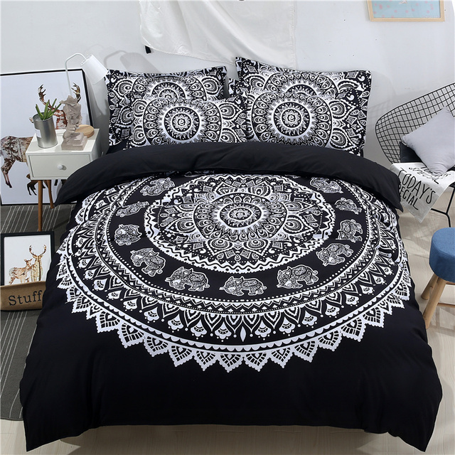 wazir mandala imprimer l phant exotique ensemble de literie motif floral housse de couette noir. Black Bedroom Furniture Sets. Home Design Ideas