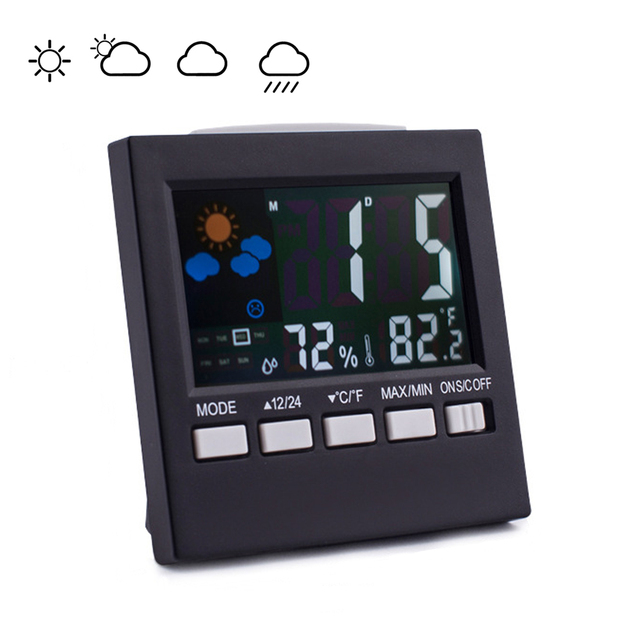 Multifunction Digital Thermometer Hygrometer Colorful LCD Termometro Digital Clock Alarm Snooze Function Weather Station