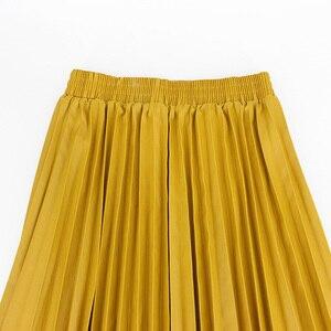 Image 3 - Jesień zima kobiety spódnice plisowana spódnica ze skóry wysokiej talii elastyczne talia linia kolano długość kobiet spódnica Faldas Mujer