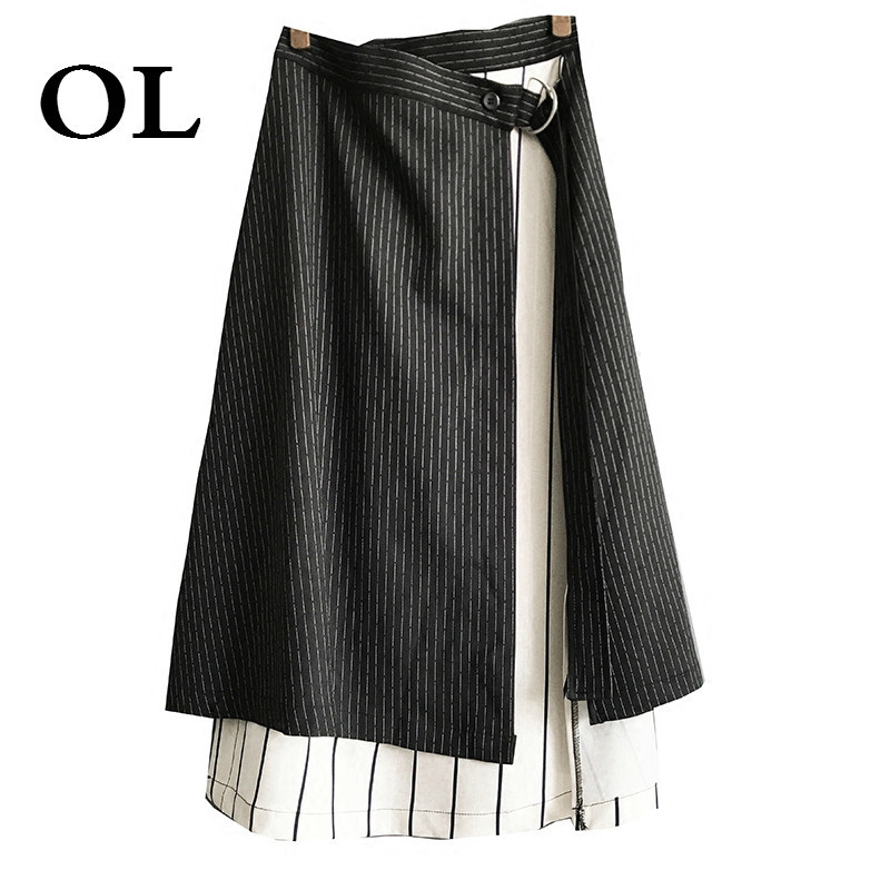 [OL]2018 New Spring Fashion Black White Striped High Waist Hit Color Splicing Irregular Large Size Skirt Women Loose W485