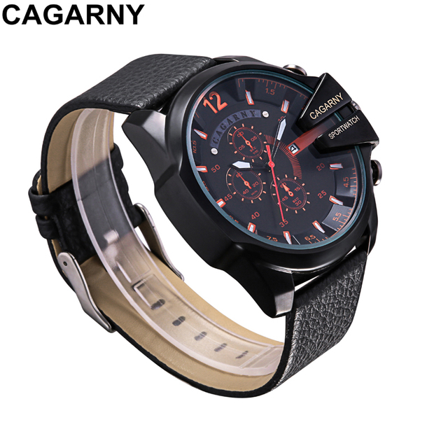 Cagarny Quartz-Watch Mens Watches Top Brand Luxury Sport Watch Men Leather Watchband Date Military Wristwatches Wholesale 10pcs