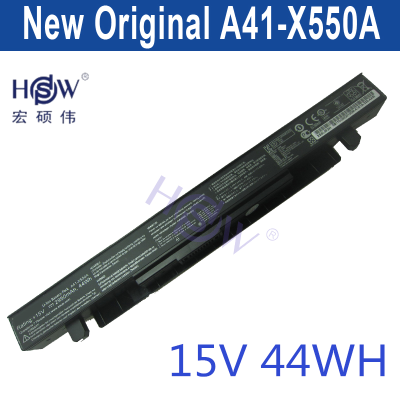 HSW Battery 15V 44WH for Asus X550C X550B X550V X550 A41-X550A LAptop battery bateria akku hsw battery 7 4v 6840mah 50wh for asus zenbook ux31a ux31e c22 ux31 laptop battery bateria akku