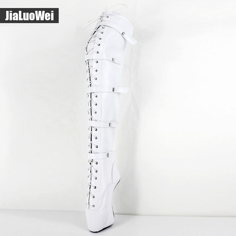 18cm/7 Extreme High heel Fashion Women lace up buckles Hoof Heel Ballet sexy Fetish Zip over-the-knee thigh high long boots
