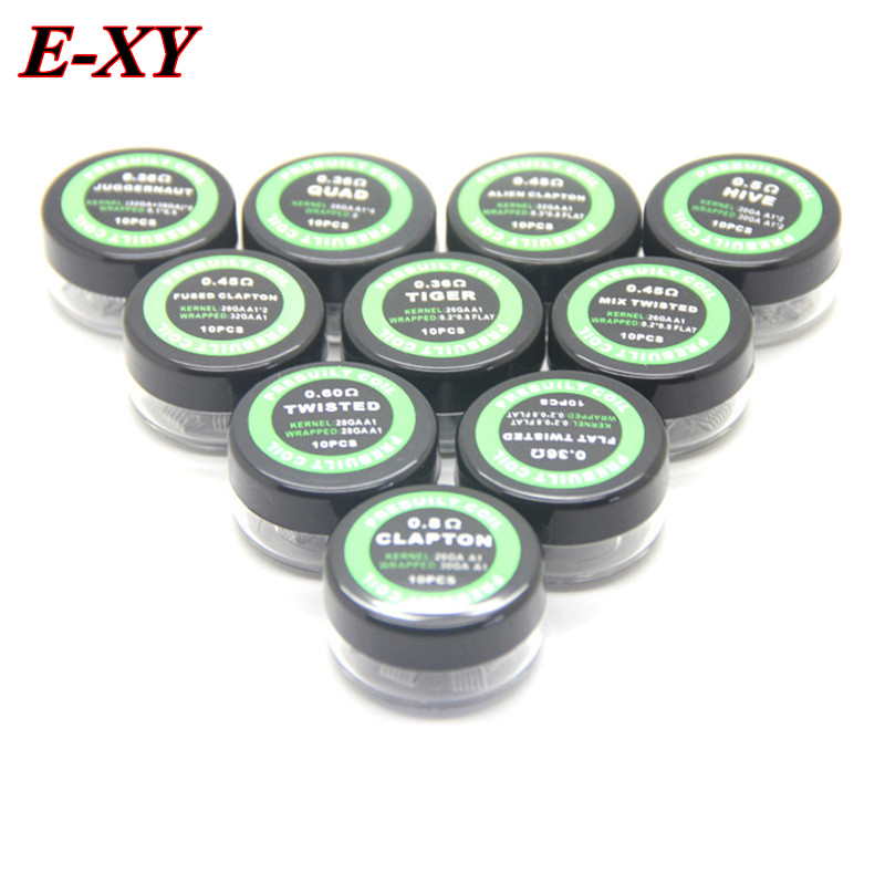 E-XY Flat Twisted Wire Fused Clapton Coils Hive Premade Wrap Wires Alien Mix Twisted Quad Tiger Heating Rda Coil For Vape