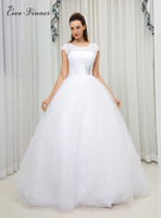 C V American And European Simple Brief Ball Gown Wedding Dress 2018 Short Sleeve Plus Size