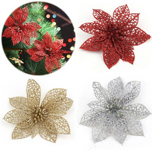 10 pcs Colorful Glitter Hollow Flowers for Christmas Tree Decorations
