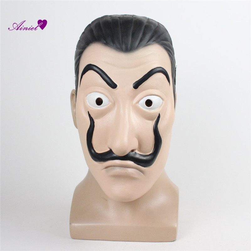 Ainiel La Casa De Papel Dali Cosplay Face Mask for Adult Women Men Salvador Dali Latex Mask for Halloween Carnival Christmas