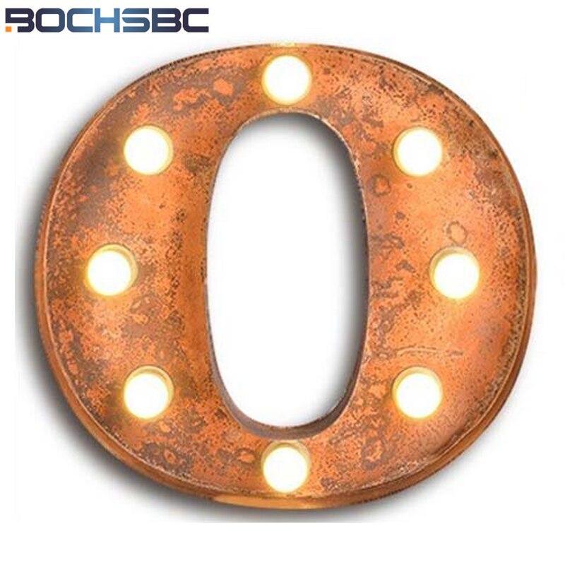 BOCHSBC fer appliques murales lettres O lumières personnalité américaine applique murale industrielle pour Bar café panneau d'affichage Vintage lettre lumière