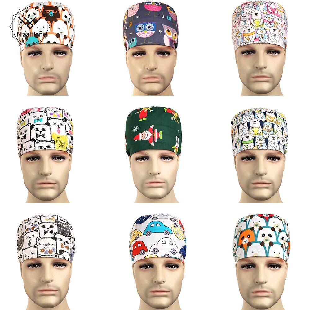 Scrub Surgery Medical Surgical Cap Pet Hospital Beauty Salon Medical Hospital Dotor Nurse Printing Adjustable Hats For Opeartion