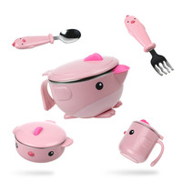 Children dishes set Baby tableware Kit Stainless Steel feeding bowl Spoon Fork Cup Heat preservation bowl