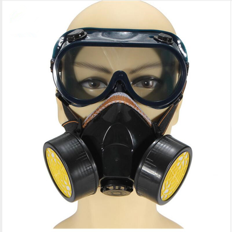 Dual Anti-Dust Spray Paint Industrial Chemical Gas Respirator Mask Glasses Set Black NEW High Quality