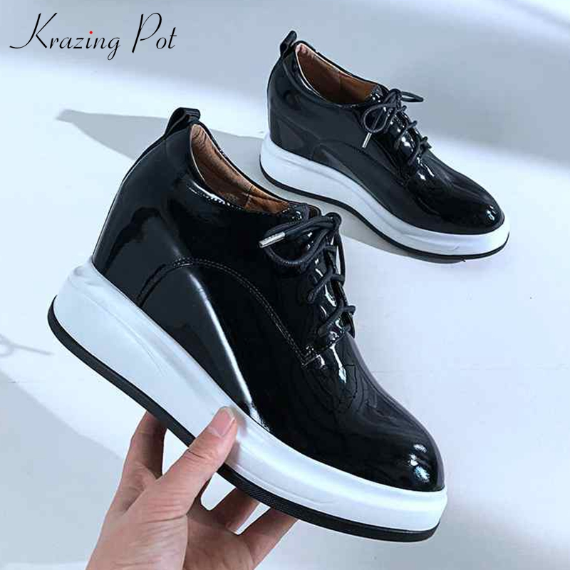 High quality new genuine leather shoes women platform round toe sneaker lace up European increasing women