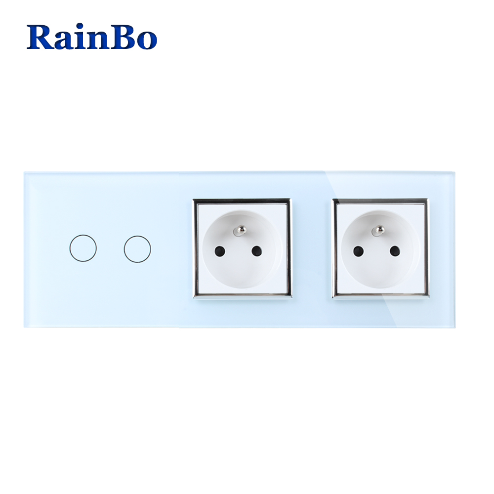 RainBo Crystal Glass Panel France Power Socket EU Touch  Socket Control Screen Wall Light Switch 2gang1way  A39218F8FCW/B wall light touch switch 2 gang 2 way wireless remote control power light touch switch white and black crystal glass panel switch