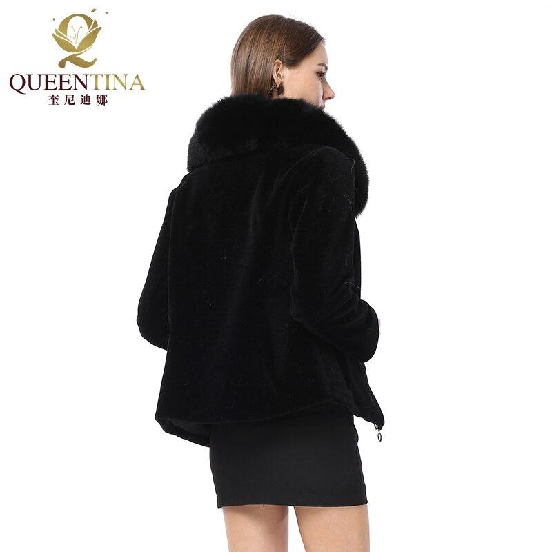 Kobiety prawdziwe futro płaszcz z futra lisa kołnierz płaszcz z owczej wełny zima owce płaszcz kurtka oryginalna pełna Pelt kożuch płaszcz w Prawdziwe futro od Odzież damska na  Grupa 3