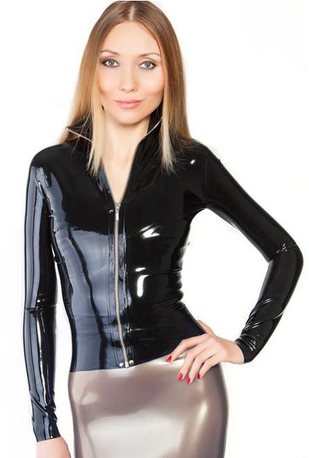 Латексные костюмы для женщин рубашка Топ экзотические тугие настройки натуральный ручной работы - Цвет: black w front zipper