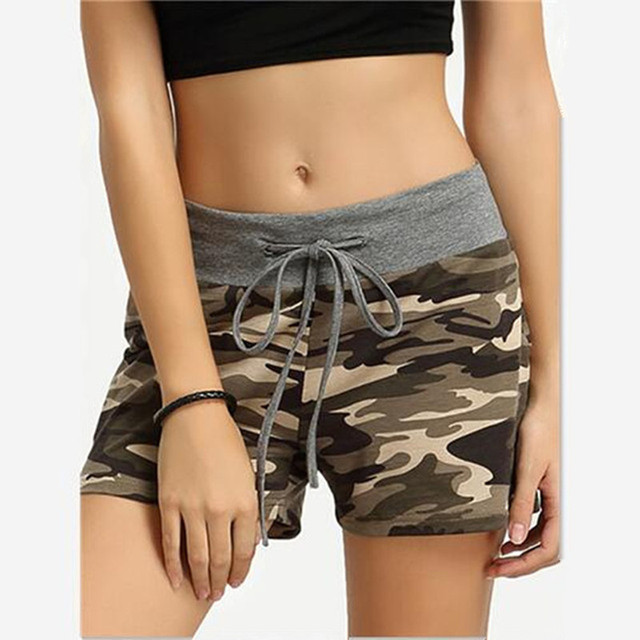 Women Shorts green Camouflage print Cotton Blend patchwork Elastic Wait Drawstring summer lady wild Military Active short Pants