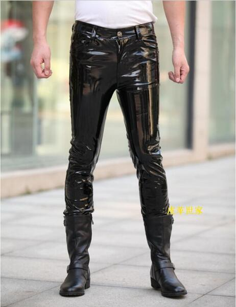 100% QualitäT 27-37 ! Men's New Dj Fashion Clothing Slim Male Classic Slim The Light Japanned Leather Pants Trousers Singer Costumes Moderater Preis