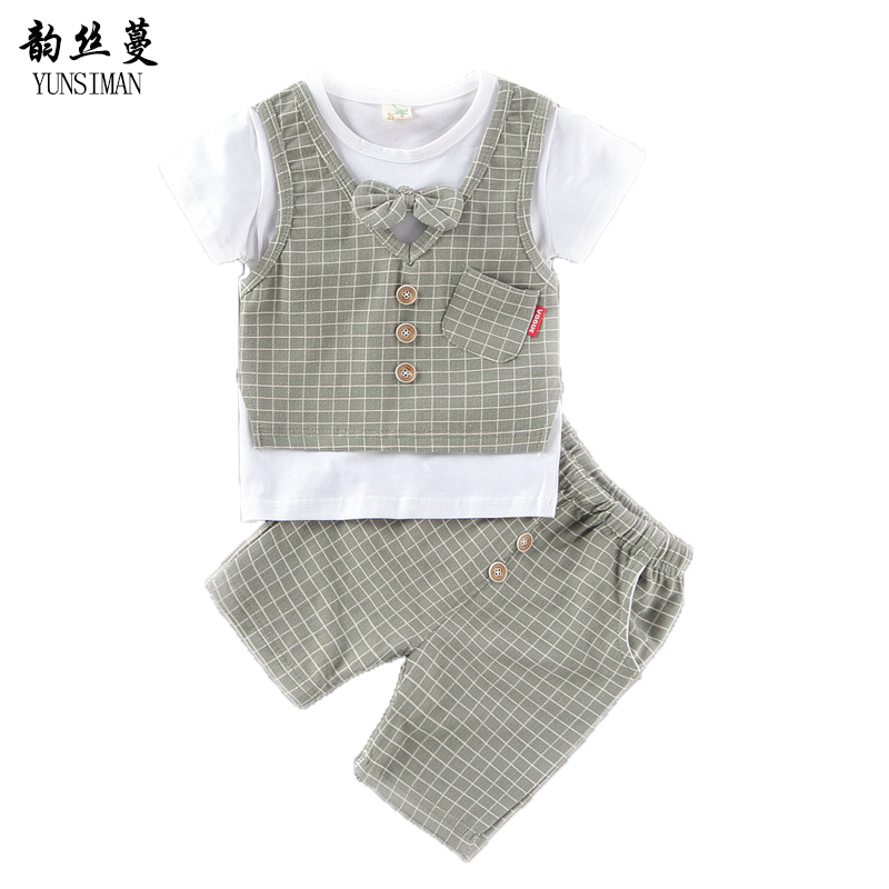 Baby Clothes Suit 2 3 4 5 6 Years Boys Shorts and Short Sleeve Plaid Cotton T Shirt Kids 2pcs Suit for Summer Kids Clothes 9C02