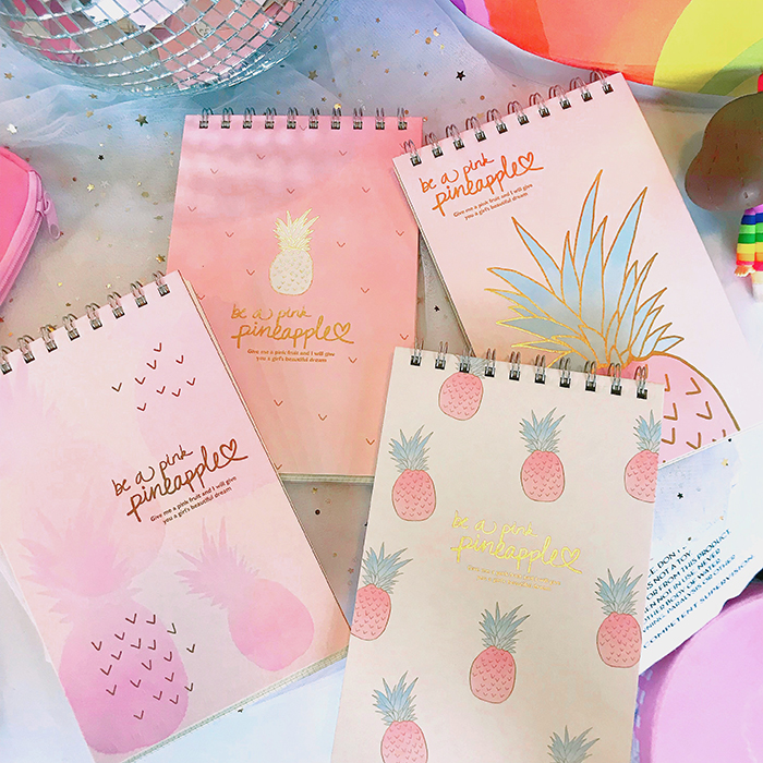 "Pink Pineapple"" Cute Notebook Diary Hand Memo Study Journal Coil Spiral Notepad"