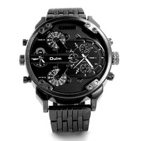 Oulm Brand Men Full Steel Alloy Sport Quartz Watch 2 Time Zone Big Dial Army Military
